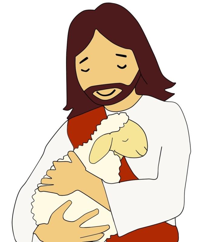 Illustration von Jesus mit Lamm auf dem Arm
