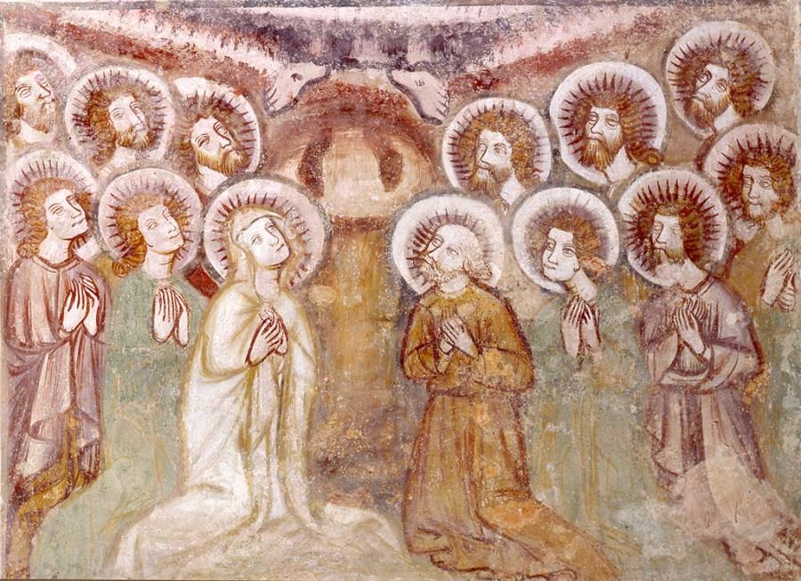 Berghofen, Nebenkirche St. Peter und Paul, Wandmalereizyklus hier Auferstehung und Himmelfahrt, um 1400