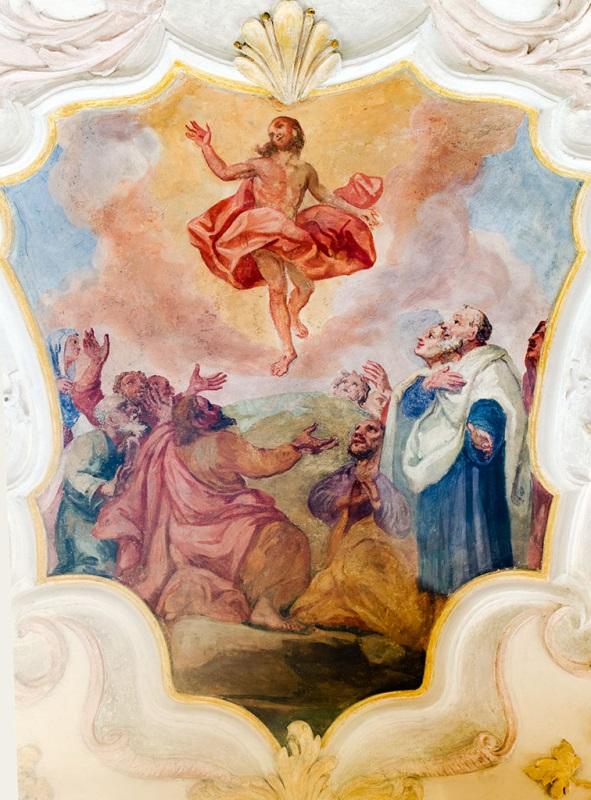 Fischbachau, Pfarrkirche St. Martin, Deckengemälde Himmelfahrt Christi, Melchior Puchner, 1737/38