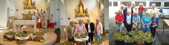 drei Fotos des Frauenkreises St. Otto zu Kräuterbuschen am Mariä Himmellfahrt