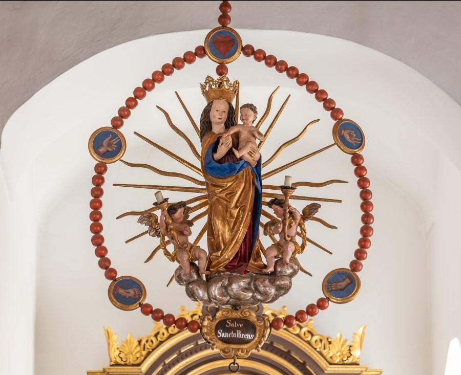 Esting, St. Stephanus, Rosenkranzmadonna, um 1500 mit barocker Ergänzung