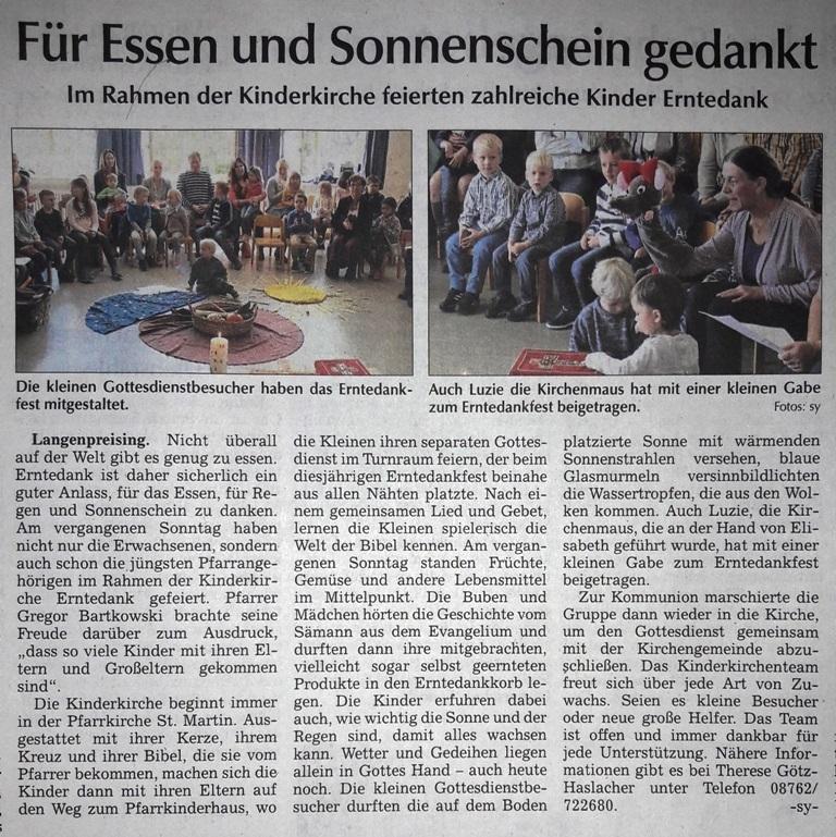 Artikel in der Moosburger Zeitung vom 07.10.2019