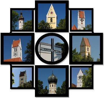 Logo des Pfarrverbandes mit allen Kirchen