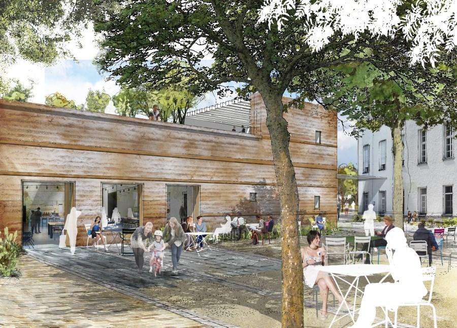 Visualisierung eines Cafés am Bildungscampus in Traunstein