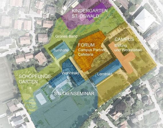 Übersichtsplan des künftigen Campusgeländes in Traunstein