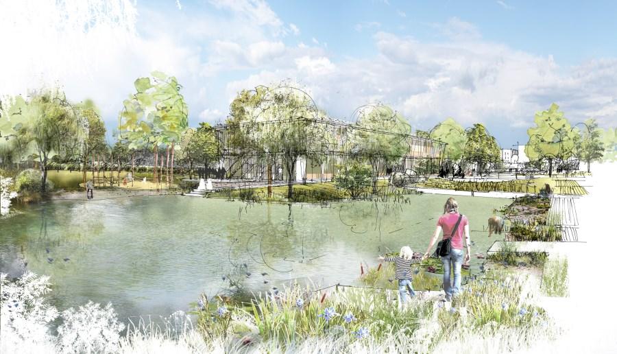 Visualisierung des Kindergartenneubaus mit Teich auf dem Campus Traunstein
