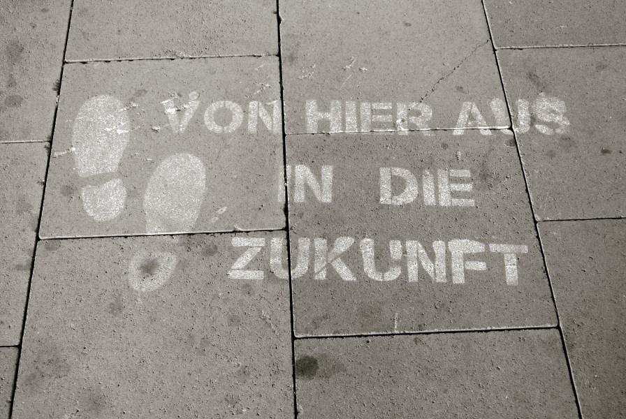 """Straßenaufschrift """"Zukunft"""""""