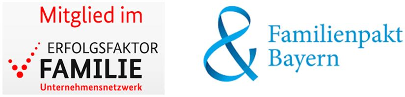 Logos Familienpakt Bayern und Erfolgsfaktor Familie