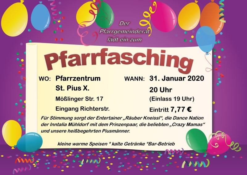 Plakat für den Pfarrfasching am 31. Januar 2020 in St. Pius X. - Mühldorf