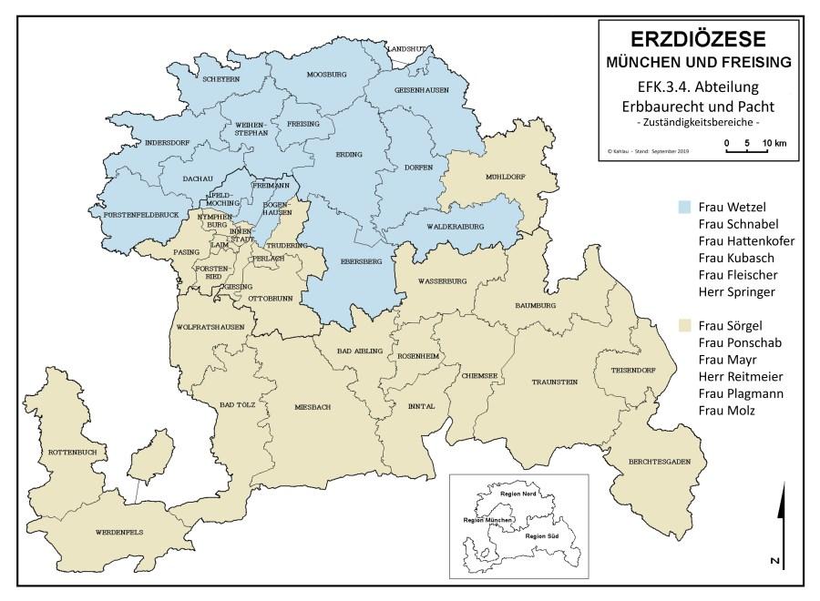 Karte Zuständigkeitsbereiche Erbbaurecht und Pacht 2020