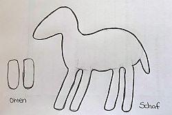 Bleistiftzeichnung Körper Schaf und zwei Ohren