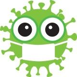 Virus mit Mundschutz, grün 160 px
