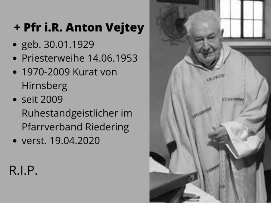 Verstorben ist Pfarrer in Ruhe Anton Vejtey