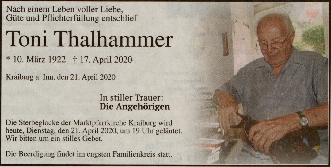 Todesanzeige Thalhammer