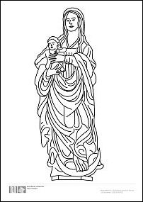 Ausmalbild Maria mit Kind