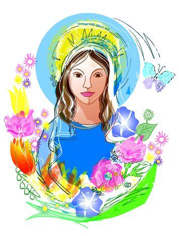 Maria mit Blumen