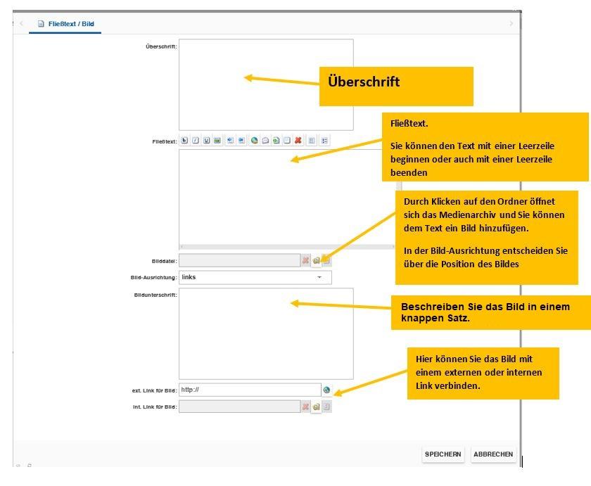 Zeigt eine Beschreibung des Fließtext-Moduls im incca CMS.