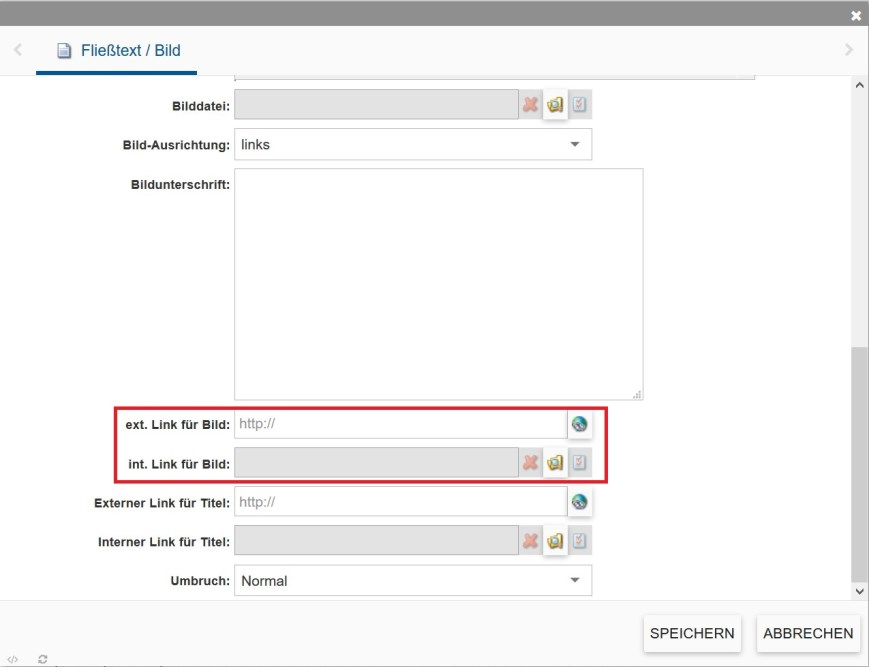 Gezeigt wird das Fließtext-Modul im incca-CMS. Hervorgehoben sind die Felder um Links für Bilder einzufügen.