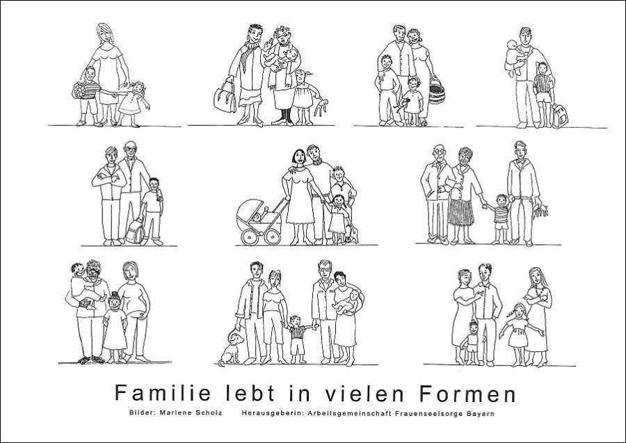 Plakat Zeichnung von verschiedenen Familienformen