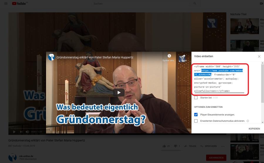"""Zeigt die YouTube """"Teilen -> embed"""" Oberfläche."""