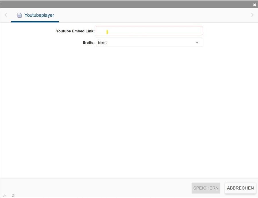 Zeigt das Youtubeplayer-Modul im incca-CMS.