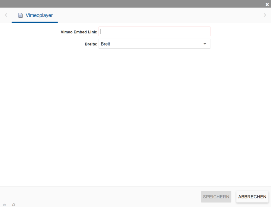 Zeigt die Übersicht zum Vimeoplayer im incca CMS.
