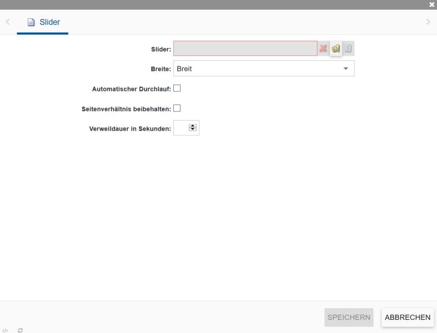 Zeigt die Slider Eigenschaften im Incca CMS.