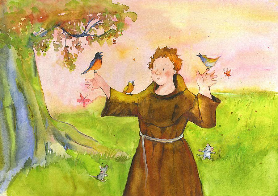 Illustration heiliger Franziskus mit Vögeln und Baum