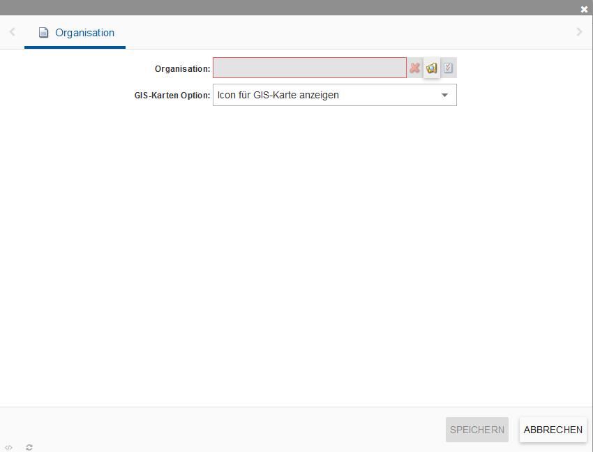 """Zeigt die Optionen beim Einbau der Applikation """"Organisationen""""."""
