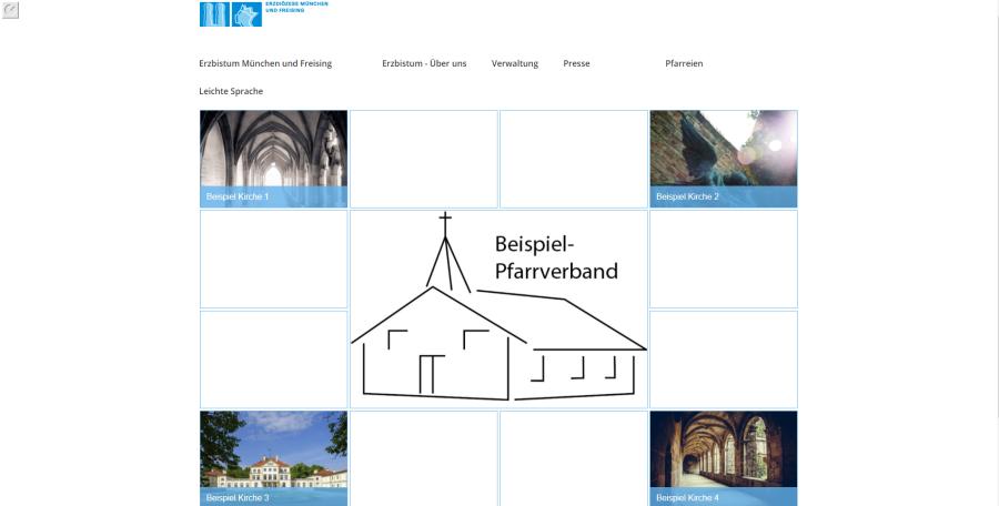 Bildserie zeigt die Vorschau der im Beispiel erstellten Kachelseite 2