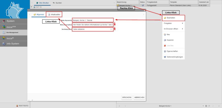 Zeigt die Meta-Daten Ansicht im incca-CMS.
