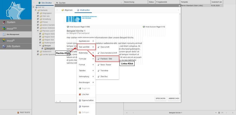 Bildserie zeigt, wie man neue Inhalte in einer Webseite anlegt. (5)