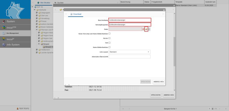 Bildserie zeigt Anleitung um eine Webseiten zu Verknüpfen und eine Datei zum Download anzubieten. (12)