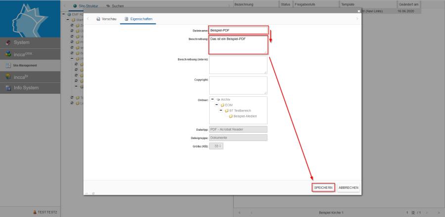 Bildserie zeigt Anleitung um eine Webseiten zu Verknüpfen und eine Datei zum Download anzubieten. (14)
