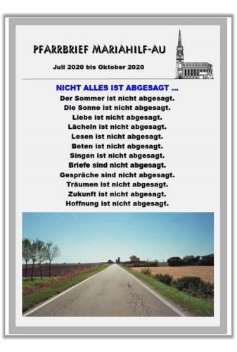 Mariahilf Sommer-Pfarrbrief