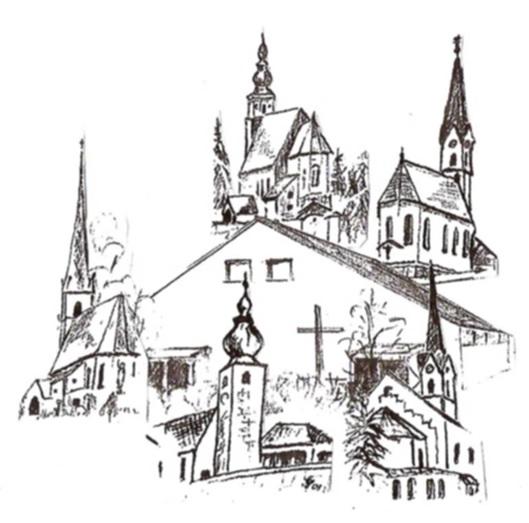 Zeichnung der Kirchen der Pfarrei