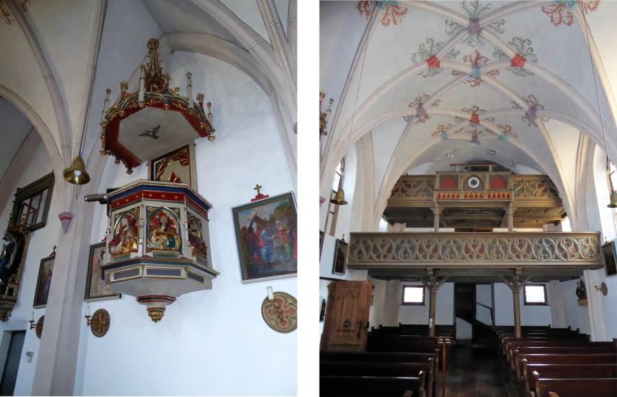 Die Kanzel und die Empore der Tenglinger Kirche