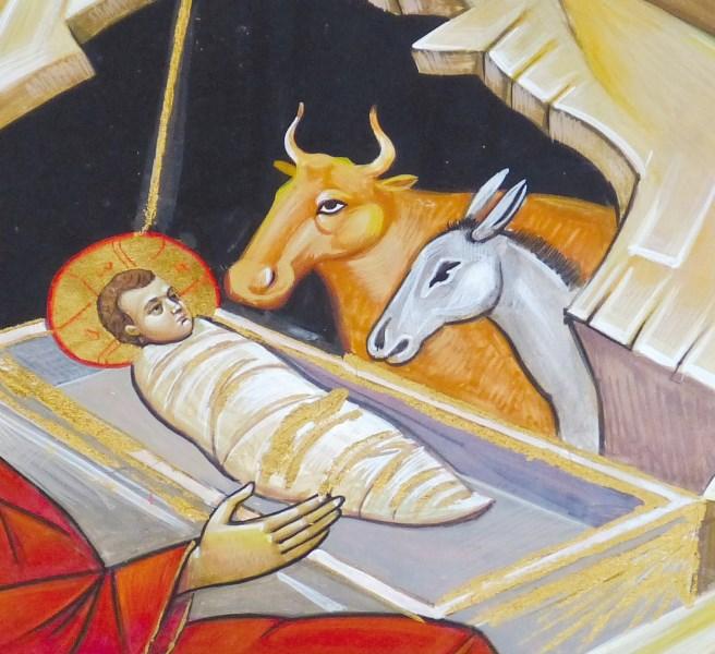 Ochs Und Esel An Der Krippe Sind Sinnbild Für
