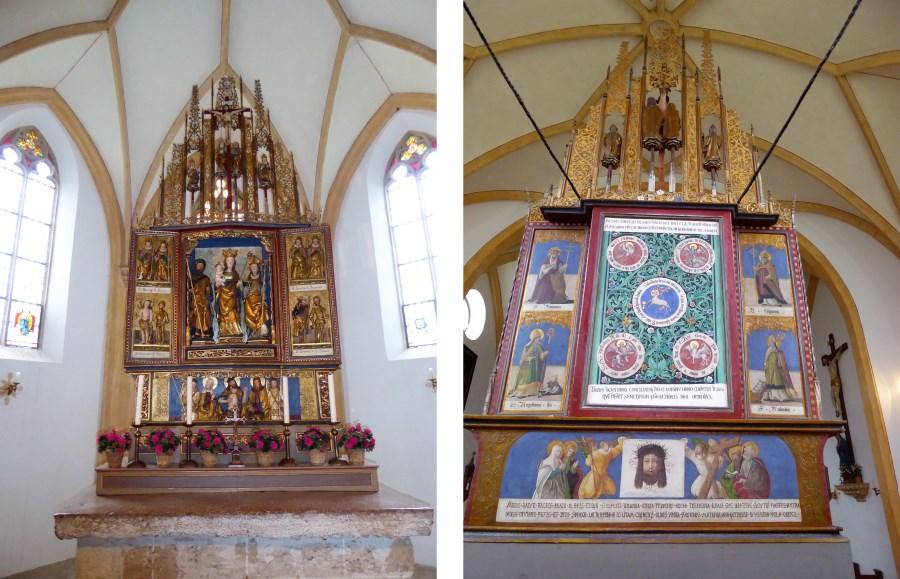 Der Hochaltar in St. Coloman von vorne und hinten