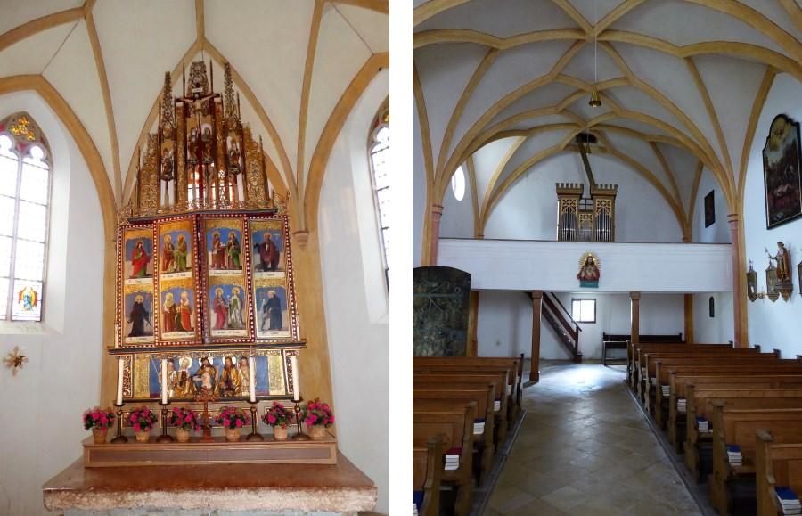 Der Hochaltar mit geschlossenem Flügel und die Orgel.