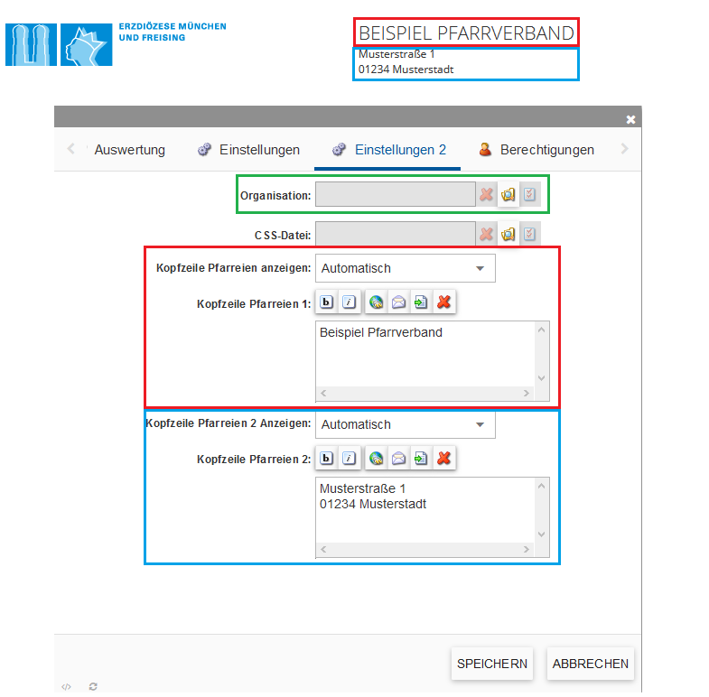 Bildserie zeigt Inhalte zur Kopfzeile im incca-CMS. (3)