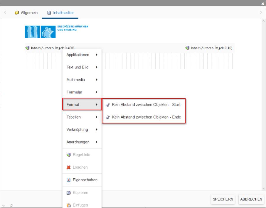 Zeigt Position der Format-Option im incca-CMS.