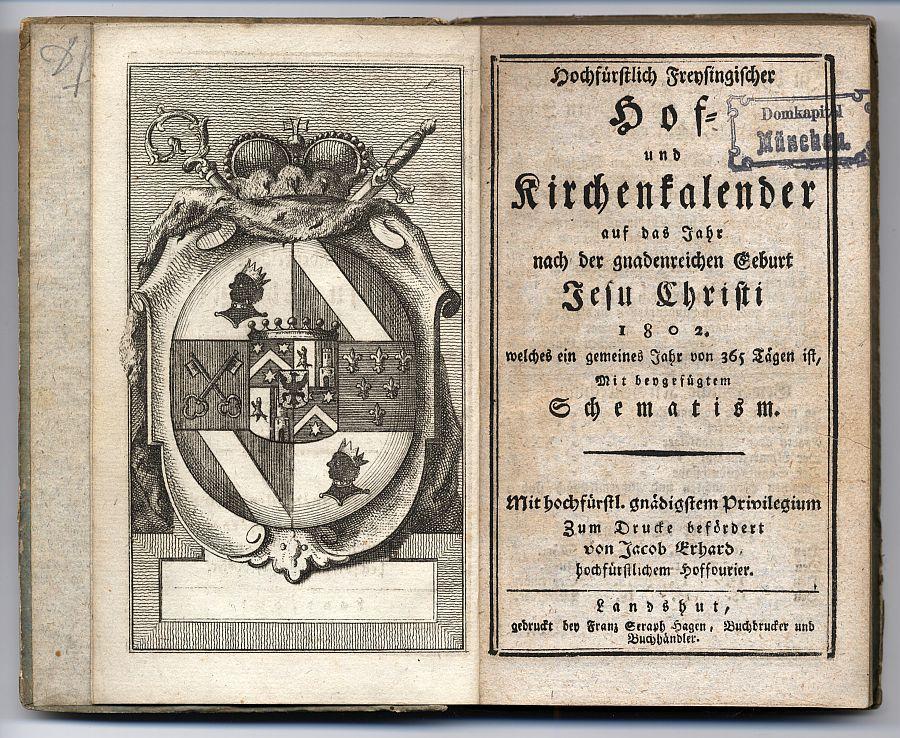 Doppelseite Hof- und Kirchenkalender