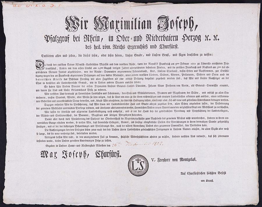 gedrucktes Besitzergreifungspatent
