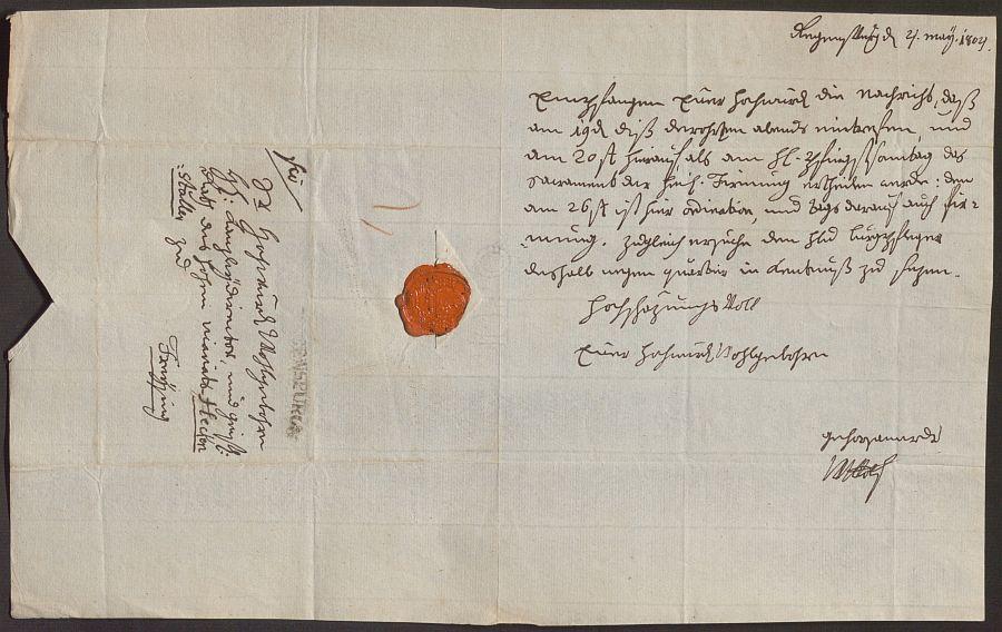 Schreiben von Weihbischof Johann Nepomuk von Wolf an Joseph Heckenstaller
