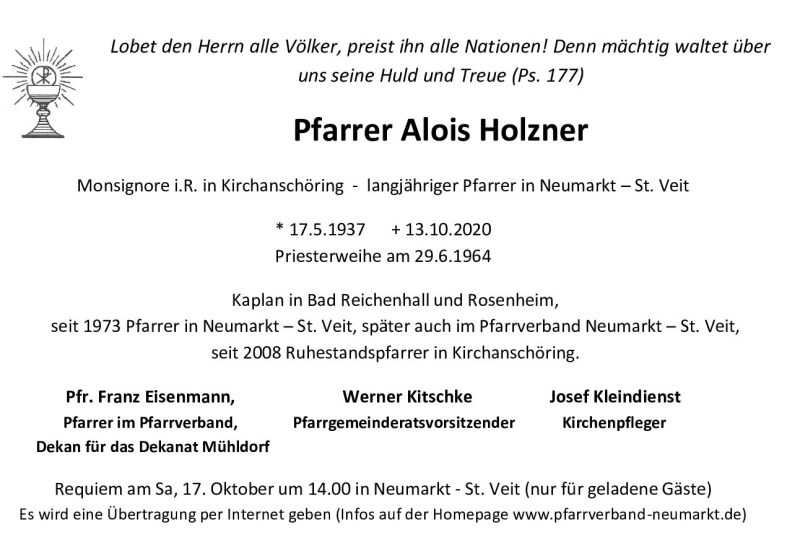 Beerdigung Pfarrer Alois Holzner Neumarkt - Todesanzeige
