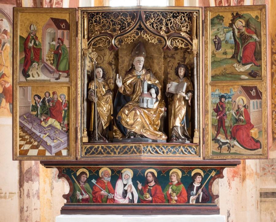 St. Wolfgang, Pipping, Spätgotischer Hochaltar von 1480/85: Schrein, Seitenflügel und Predella