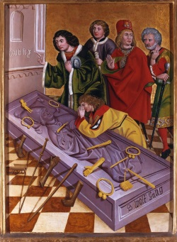 St. Wolfgang, Pipping, Darstellung aus der Wolfgang-Legende: Votivgaben u.a. in Form von Extremitäten wie Beine oder Hände