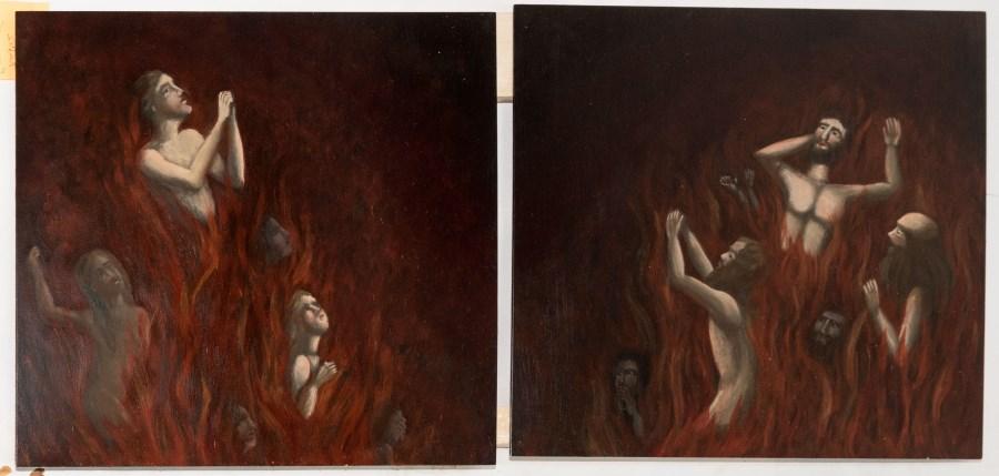 Hebertshausen, St. Georg, Purgatoriumsschrein, neue Arme-Seelen-Bilder