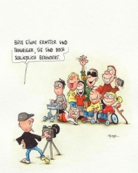 Hubbe Cartoon Schwerbehinderte